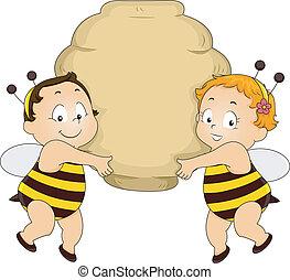 alveare, bambini, presa a terra, ape