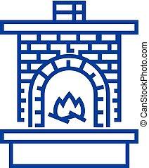 alvenaria, linha, lareira, vetorial, concept., símbolo, apartamento, ícone, aquecedor, sinal, esboço, illustration., tijolo