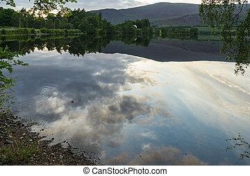 alvie, lago, reflexiones