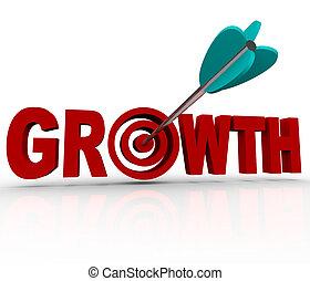 alvo, alcançar, -, aumento, crescimento, seta, meta