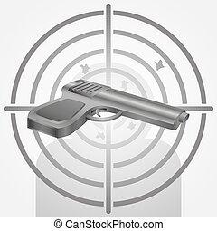 alvo, arma, ilustração, gama, vetorial, tiroteio