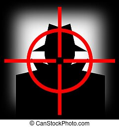 alvo, arma, vista, homem