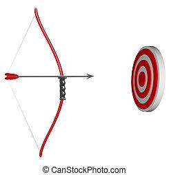 alvo, bulls-eye, -, foco, arco, seta, apontar, seu