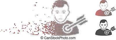 alvo, destructed, halftone, pessoa, pixel, ícone