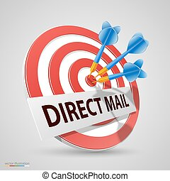 alvo, direto, ilustração, dardo, vetorial, ícone, correio