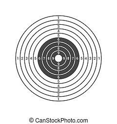 alvo disparando, ícone, isolado, branco, experiência., vetorial