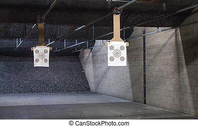 alvo, filas, em, um, tiroteio, range.