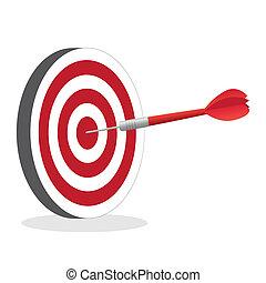 alvo, imagem, isolado, dardo, bater, experiência., bullseye,...