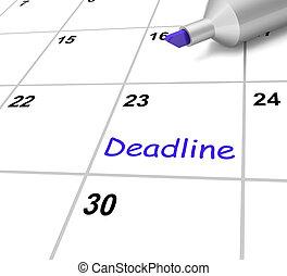 alvo, meios, devido, prazo de entrega, data, calendário