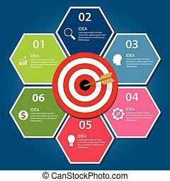 alvo, negócio, infographic, conceito, dardo, seta, tábua, realização, metas