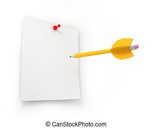 alvo, negócio, marketing, amarela, criativo, metas, penci