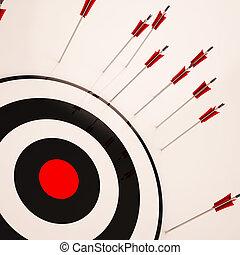 alvo, objetivo, fracasso, mal sucedido, perdido, mostra
