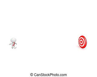 alvo, personagem, 3d, executando, laço, direção, vermelho, meta