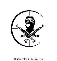 alvo, rosto, militar, automático, armas, homem