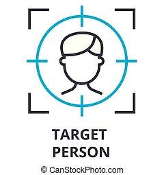 alvo, sinal, símbolo, pessoa, linear, vetorial, magra, illustation, ícone, linha, conceito
