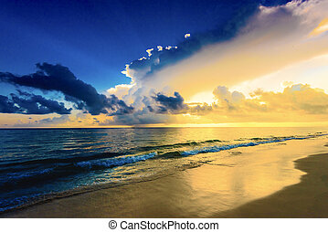 alvorada, sol, tranqüilo, pacata, mar