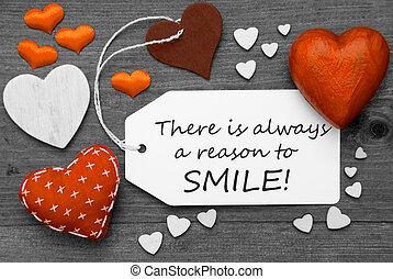 always, étiquette, raison, cœurs, citation, orange, sourire