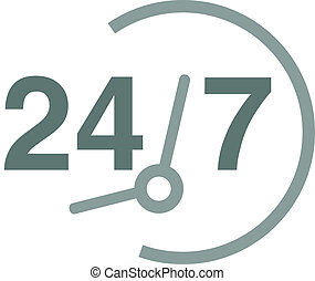 Always available - Vector drawing of a 24 hours 7 days a...
