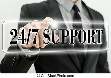 Always awailable support - 24/7 Support icon on virtual...