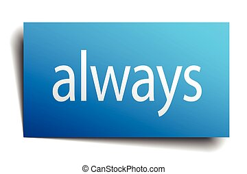 always blue square isolated paper sign on white