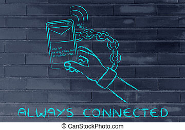 always connected to the internet, illustration of hand chained to a mobile