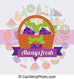 always, etichetta, uva, canestro wicker, fresco