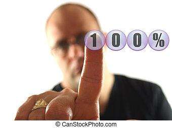 Always Give 100% - Man giving 100 % Effort