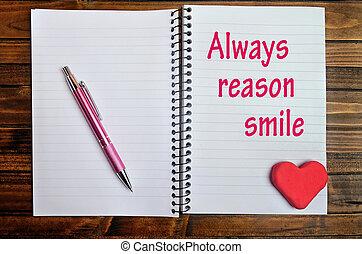 always, grund, wörter, lächeln