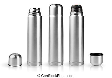 Always hot - Set of thermoses in silver metallic case in ...