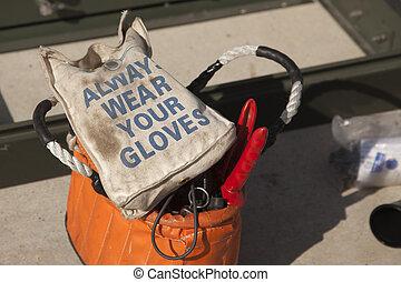 always, lavoro, borsa, elettricisti, guanti, indossare, tuo
