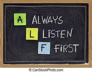 always listen first - ALF acronym - ALF acronym (always...