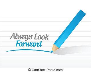 always, mirada, delantero, escrito, mensaje, ilustración