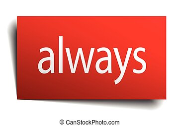 always red paper sign isolated on white