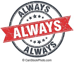 always red round grunge vintage ribbon stamp