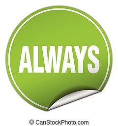 always round green sticker isolated on white
