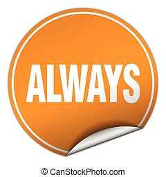 always round orange sticker isolated on white