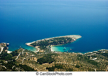 Alyki bay at Thassos island, Greece, aerial view