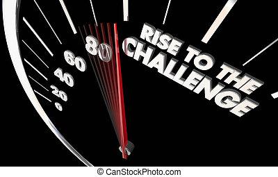 alzarsi, a, il, sfida, ottenere, scopo, tachimetro, 3d, illustrazione