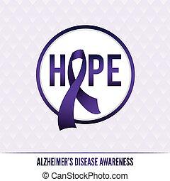 alzheimer, 徽章, 疾病, 意識