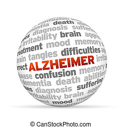 Alzheimer 3d Word Sphere on white background.