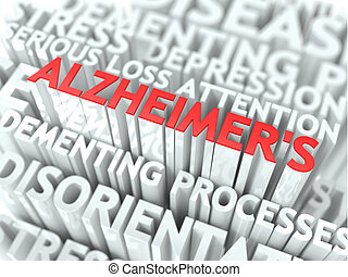Alzheimer Concept. The Word of Red Color Located over Text...