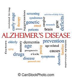 alzheimer, concept, woord, ziekte, wolk