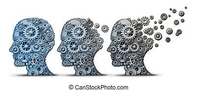alzheimer, demente mens, de ziekte van hersenen