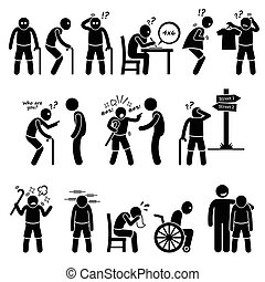 Alzheimer Dementia Elderly Old Man - Illustrations showing...
