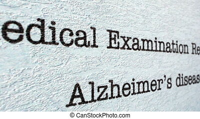 Alzheimer disease medical report