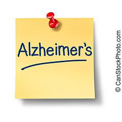 alzheimer, herinnering, kantoor, aantekening