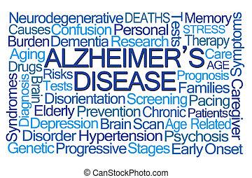 alzheimer, mot, maladie, nuage
