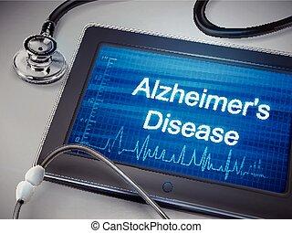 alzheimer, mots, maladie, tablette, exposer