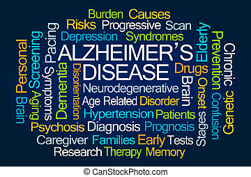 alzheimer, palabra, enfermedad, nube