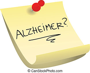 Alzheimer sticky note - Memory loss concept: alzheimer with...